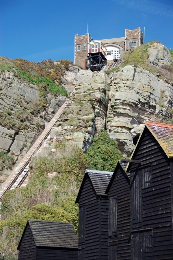 Ferrocarril funicular del Victorian en Hastings fotos de archivo libres de regalías