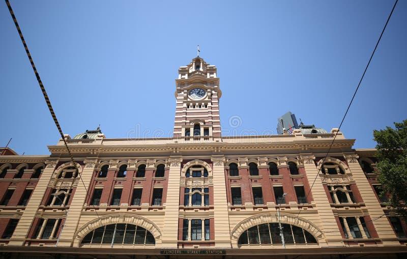 Ferrocarril icónico de calle del Flinders en Melbourne fotos de archivo libres de regalías