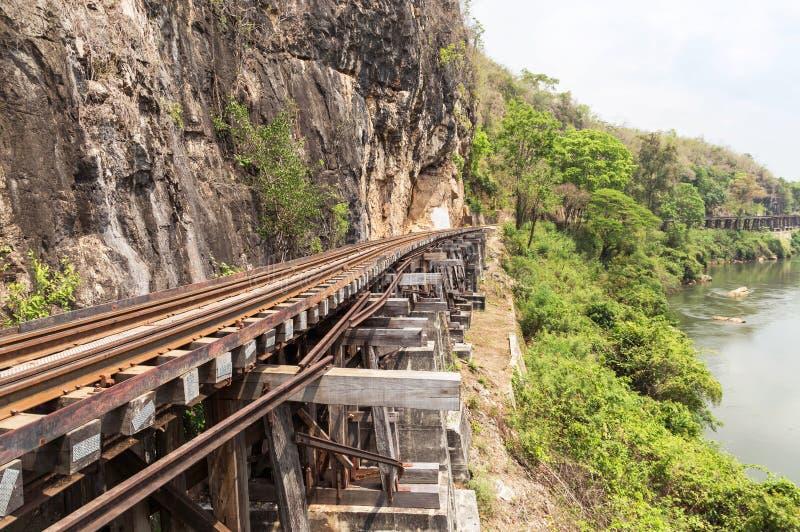 Ferrocarril público del puente ferroviario de la Segunda Guerra Mundial de la muerte en el kanchanaburi Tailandia del kwai del rí foto de archivo libre de regalías