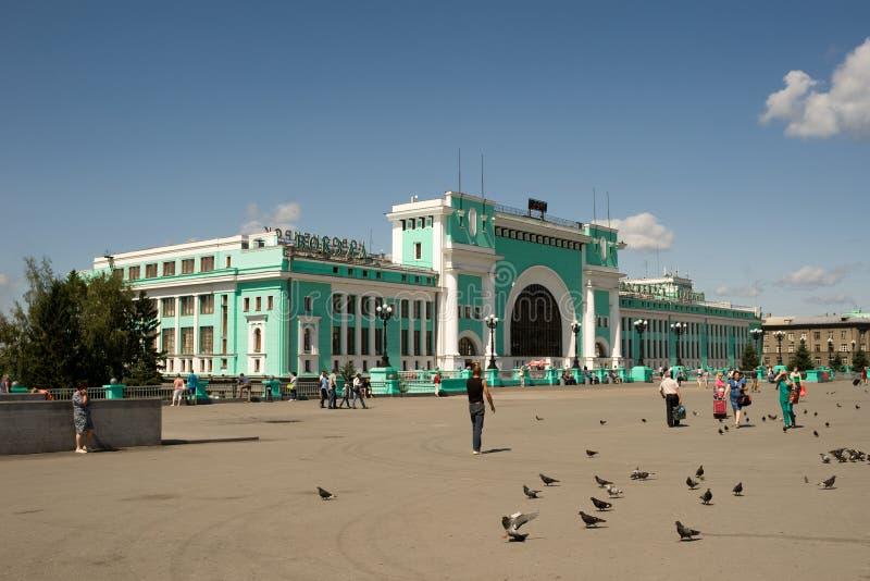 Ferrocarril principal en Novosibirsk, Rusia foto de archivo libre de regalías