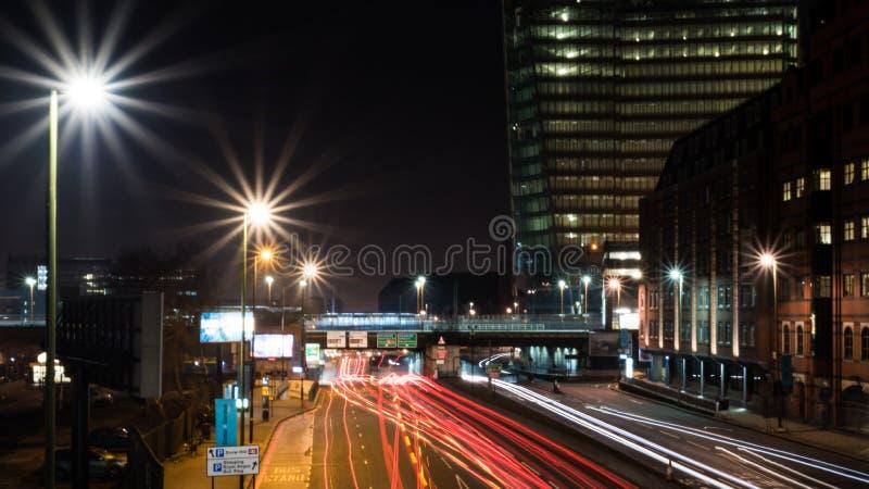 Ferrocarril y gran Charles Street Queensway, Birmingham, Reino Unido de la colina de la nieve imagenes de archivo