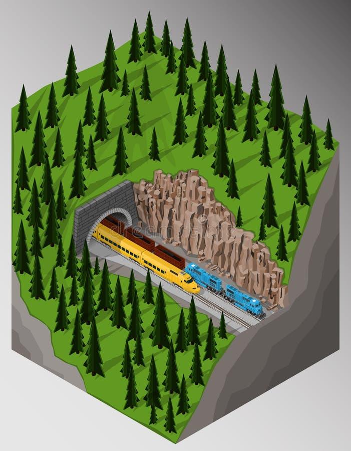 Ferrocarril y trenes stock de ilustración
