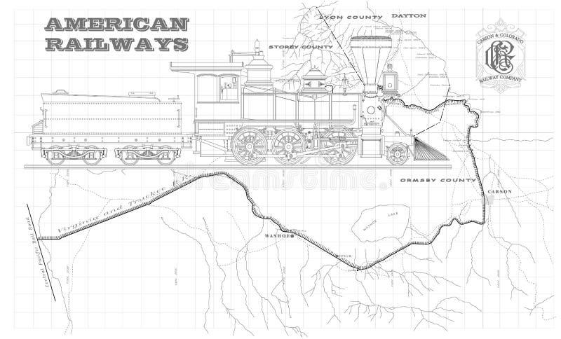 Ferrocarriles americanos viejos stock de ilustración