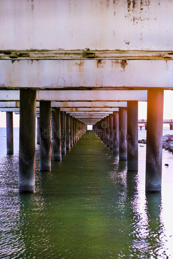 Ferroconcrete pillars of pier. Palanga, Lithuania. Ferroconcrete pillars of pedestrian seaside pier set in water on coast of Baltic sea. Sunset at Baltic sea in stock photography