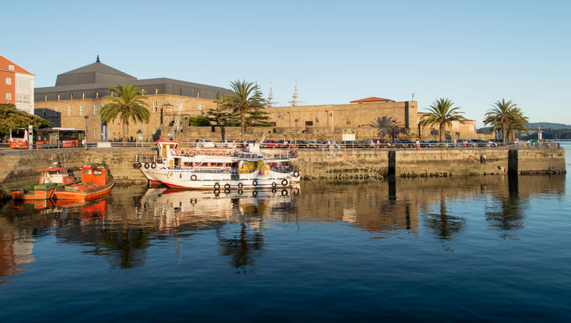 Ferrol pier in a sunny day royalty free stock photo