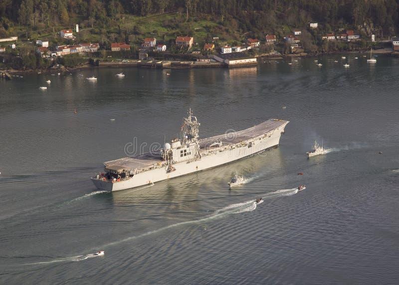 FERROL, SPAIN-FEBRUARY 08: Aircraft carrier Principe de Asturias royalty free stock image