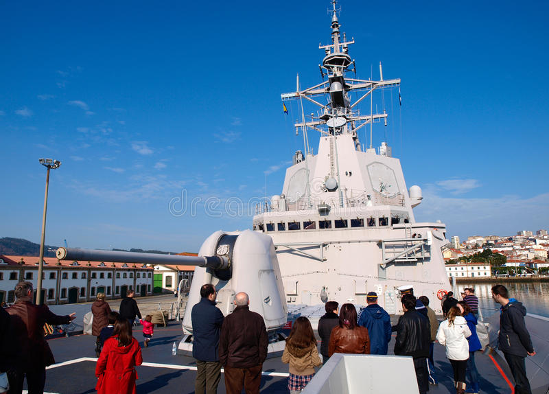 FERROL, SPAIN-FEBRUARY 16: Frigate F-101 Alvaro de Bazan. During a guided tour in Ferrol, Spain, on February 16, 2013. Alvaro de Bazan is a spanish warship stock photo
