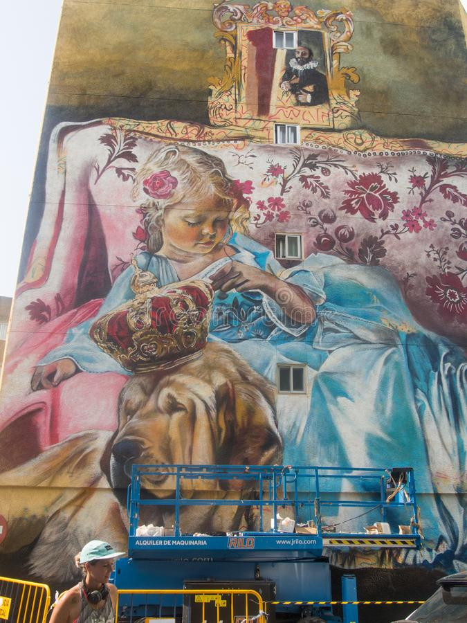 Ferrol - Spain, Street art Meninas of Canido. Ferrol - Spain, September 2, 2018 Street art Meninas of Canido stock photography