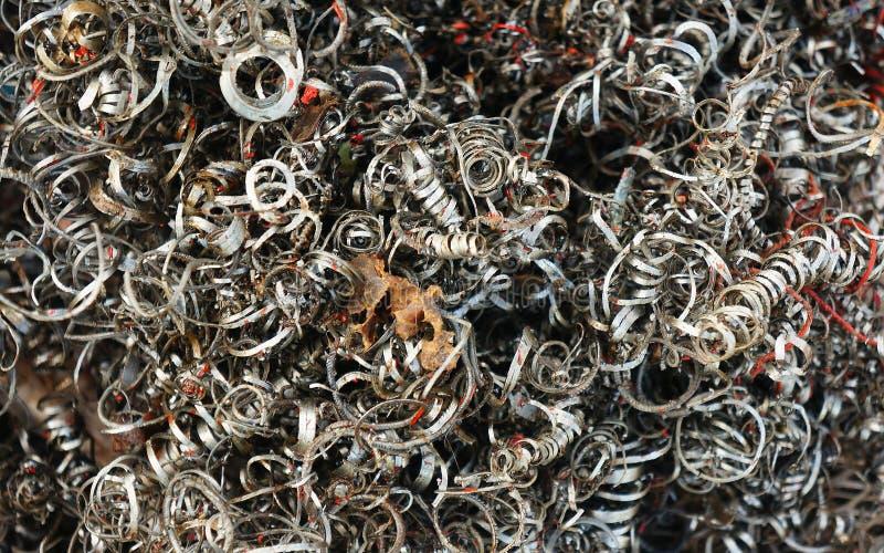 Ferrous of scraped metals, metal shavings at the workshop royalty free stock photos
