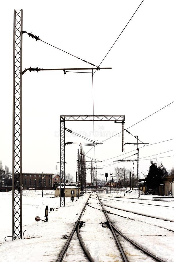 Ferrovías en invierno de la yarda de la carga fotografía de archivo libre de regalías