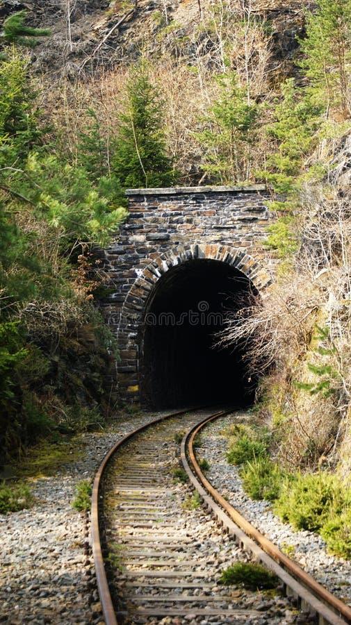Ferrovia abbandonata al tunnel fotografia stock