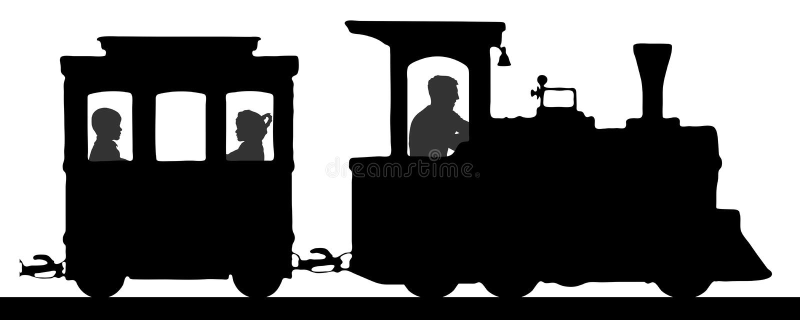 Ferrovia del giocattolo Treno con i vagoni, vettore della siluetta Locomotiva con i bambini Bambini di trasporto illustrazione di stock