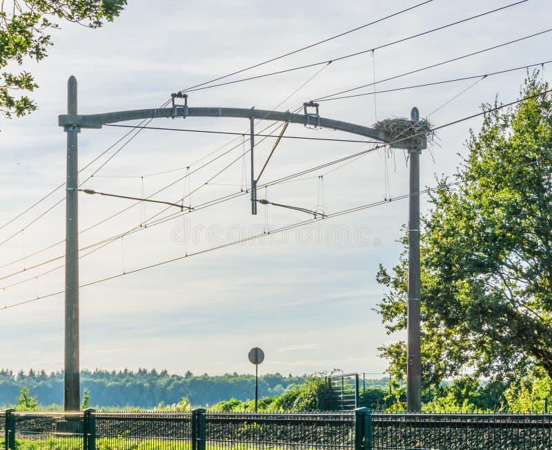 Ferrovia del treno con un nido dell'uccello della cicogna ed i cavi elettrici immagini stock libere da diritti