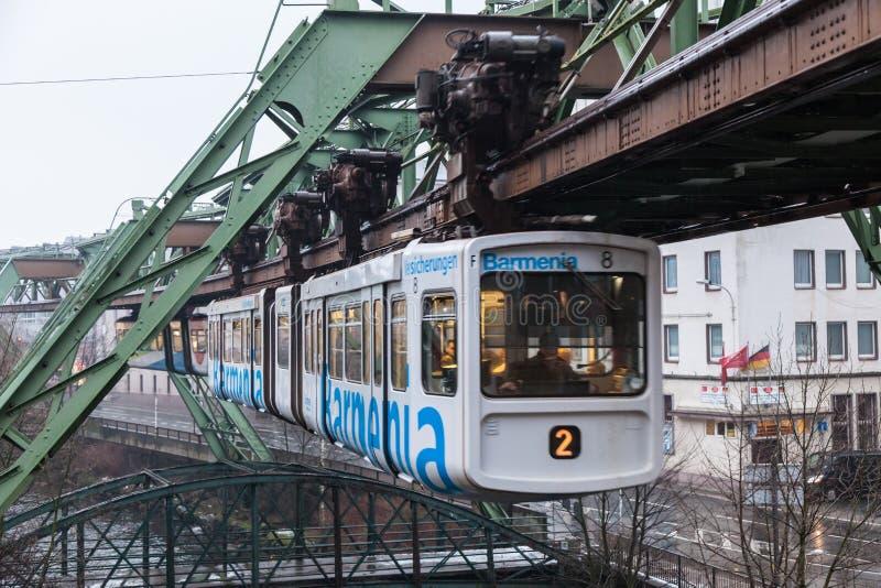 Ferrovia della sospensione di Wuppertal, Germania immagine stock