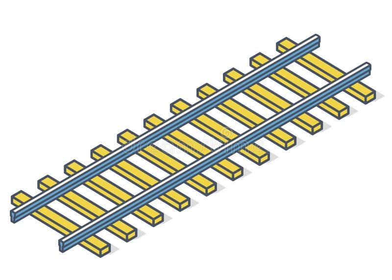 Ferrovia descritta di vettore nella prospettiva isometrica 3d isolata su fondo bianco illustrazione vettoriale