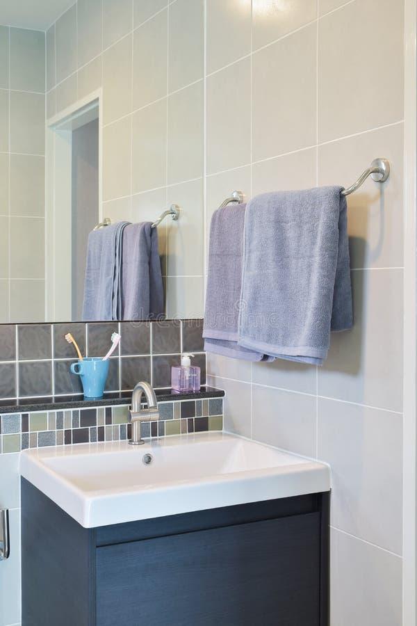 Ferrovia di asciugamano accanto al lavabo con i dentifrici in pasta fotografia stock libera da diritti
