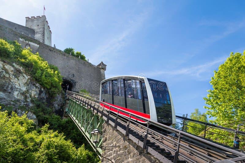 Ferrovia di cavo, fortezza funicolare al castello di Hohensalzburg, S fotografie stock libere da diritti