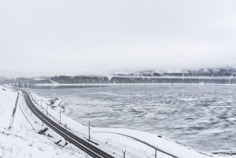 Ferrovia di inverno in Norvegia immagine stock libera da diritti