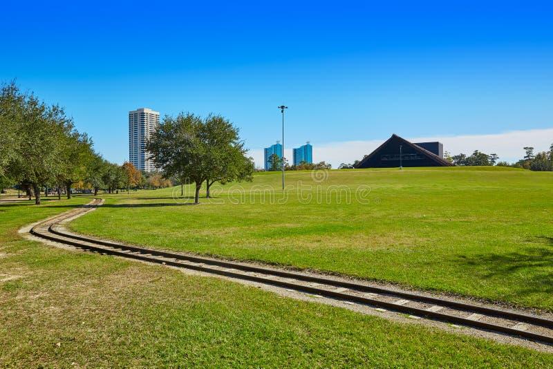 Ferrovia e Miller Theatre del parco di Houston Hermann immagine stock
