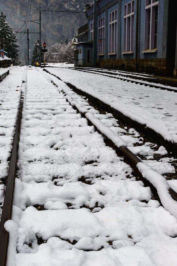 Ferrovia innevata nell'inverno fotografia stock