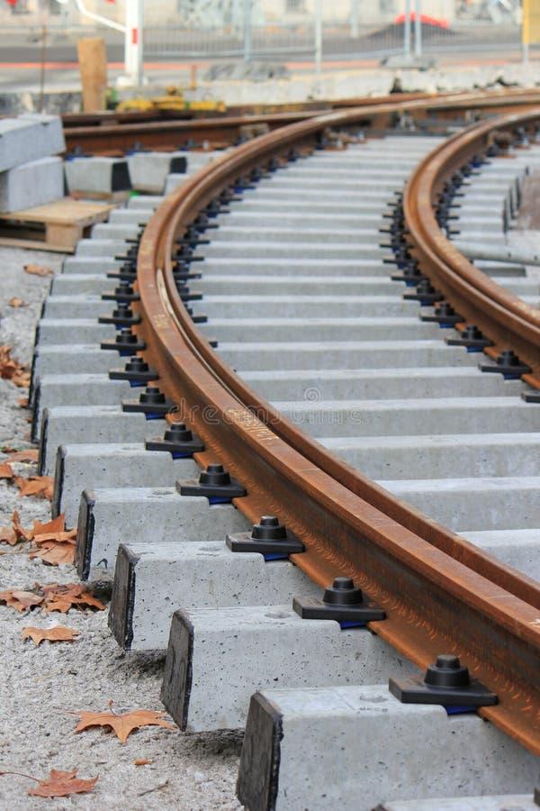 Ferrovia non finita della linea tranviaria fotografia stock libera da diritti