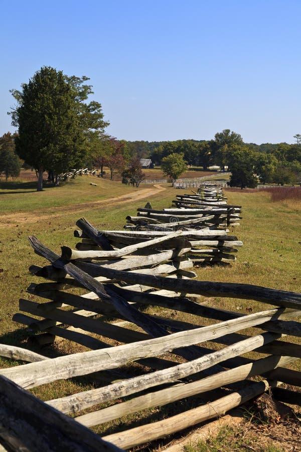 Ferrovia spaccata che recinta a Appomattox fotografie stock