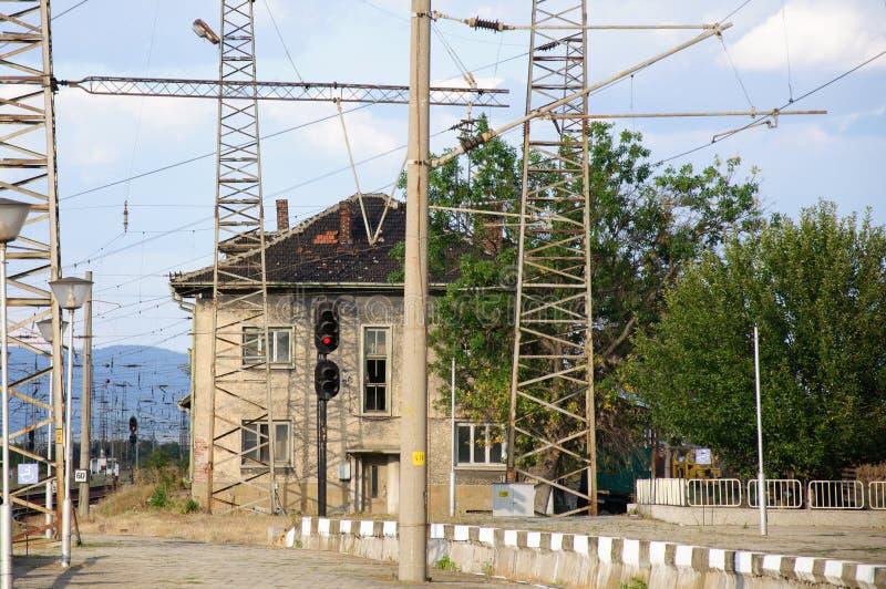 Ferrovia, tangenti e semaforo raiway fotografia stock