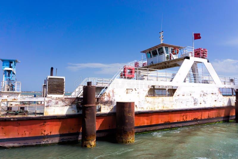 Ferry in  Ajim Port in Djerba, Tunisia. View of old ferry in Ajim port in Djerba, Tunisia stock images