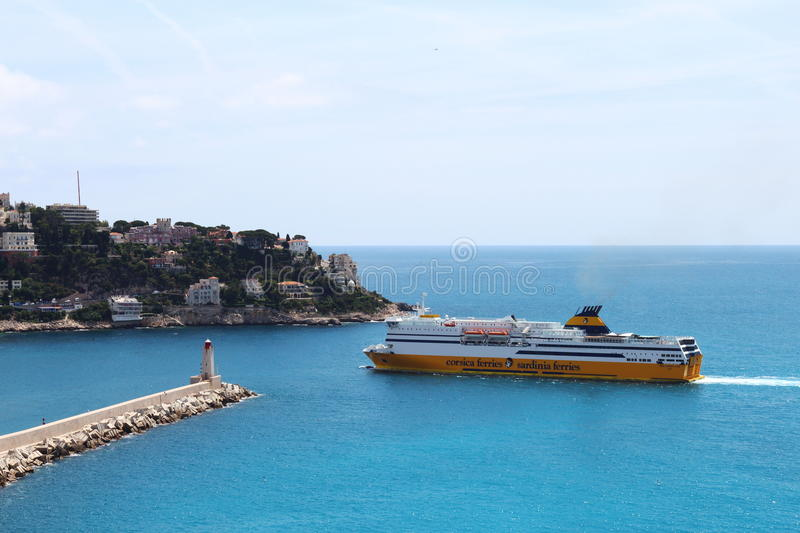 Ferry approaching the port of Nice in France royalty free stock photo
