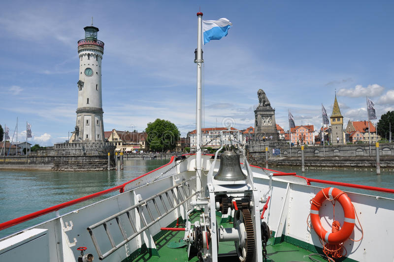 Ferry arrive at the historic port of Lindau stock photo