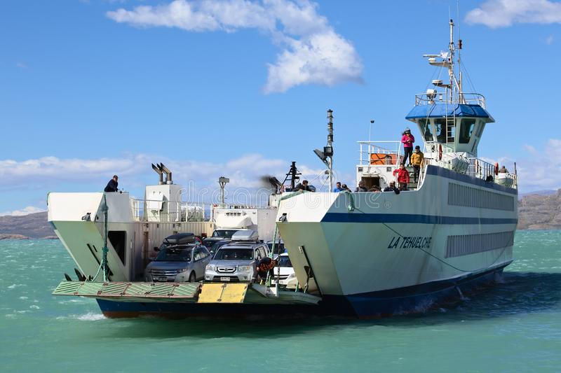 Ferry Arriving in Puerto Ibanez, Chile. PUERTO IBANEZ, CHILE - FEBRUARY 20, 2016: Ferry arriving from Chile Chico in Puerto Ibanez on the Northern shore of Lago stock photography