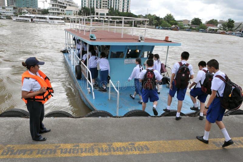 Ferry Boat on the Chao Phraya River in Bangkok stock photo