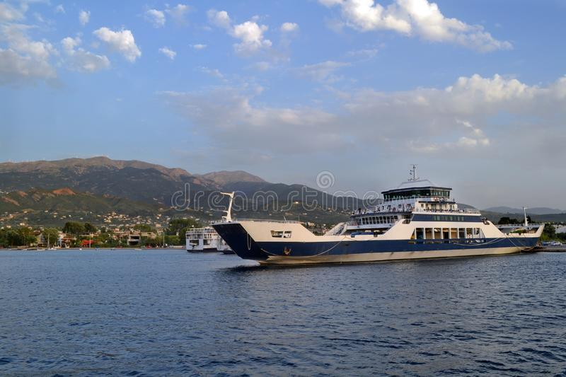 A ferry boat connecting Rio and Antirrio city in Greece. Ferryboats connect central Greece with Peloponnese. From the city of Antirrio to the city of Rio royalty free stock image