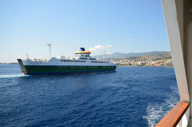 The ferry boat that connects Italy to Sicily. royalty free stock photos