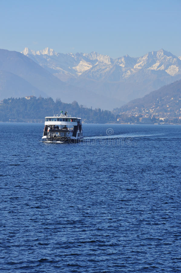 Ferry boat crossing at Lake (lago) Maggiore, Italy royalty free stock photography