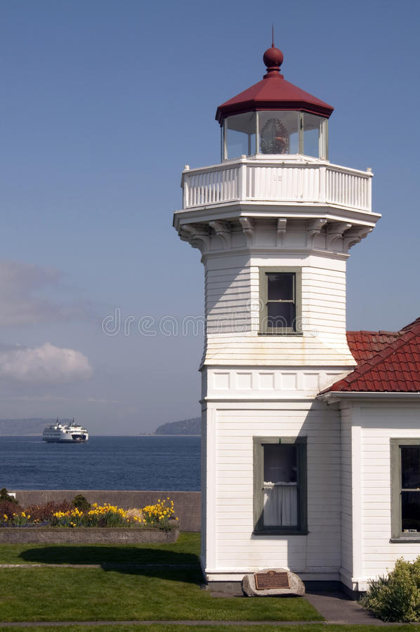 Ferry-boat de balise de Washington State Coastal Lighthouse Nautical photo stock