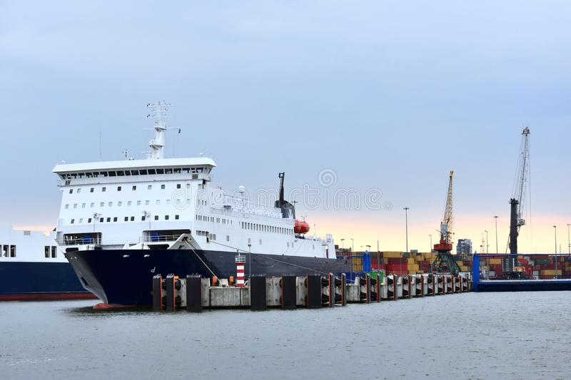 Ferry boat in the harbor of Klaipeda stock images