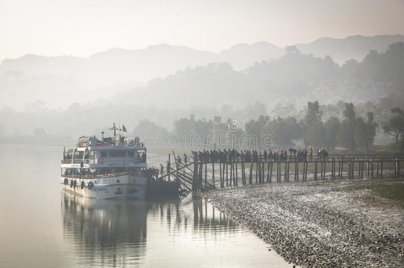 Ferry boat leaving to Saint Martin, Bangladesh royalty free stock photos