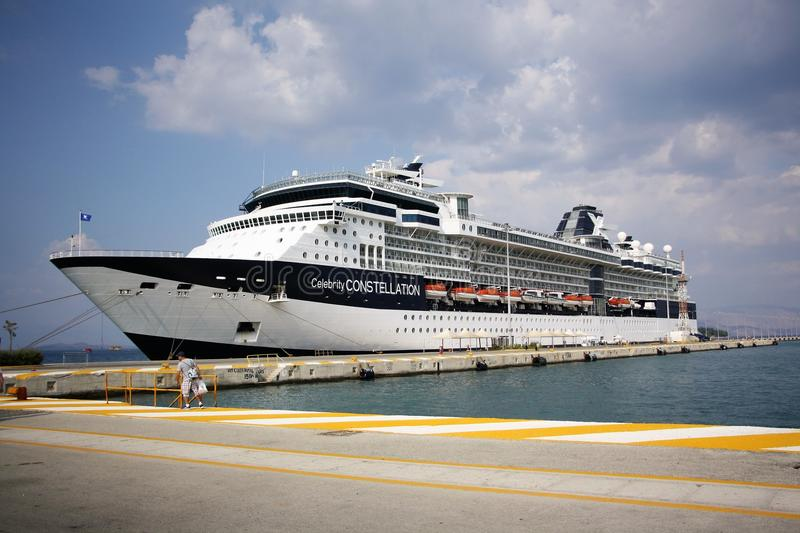 Ferry boat in the port stock photography
