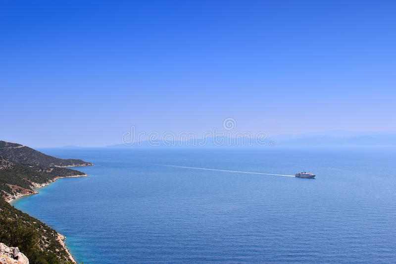 Ferry boat on the sea stock photography