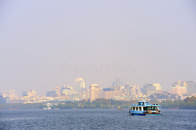 Download Ferry Boat At The West Lake Near Hangzhou Stock Image - Image of ship, relaxation: 8018401