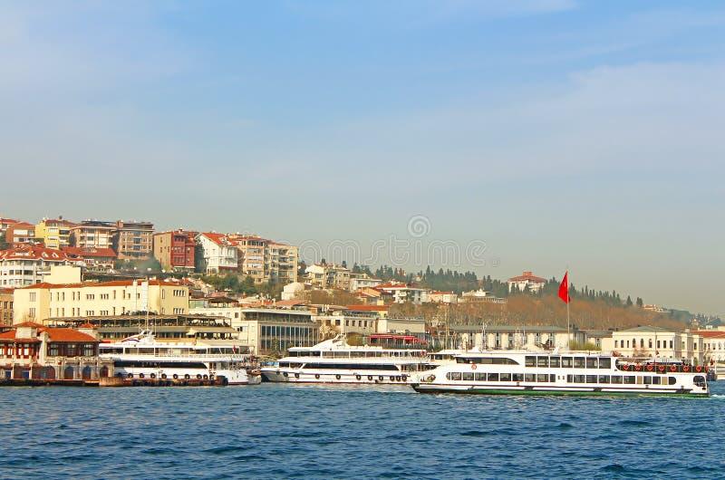 Ferry boats in Bosporus, Istanbul, Turkey royalty free stock photography