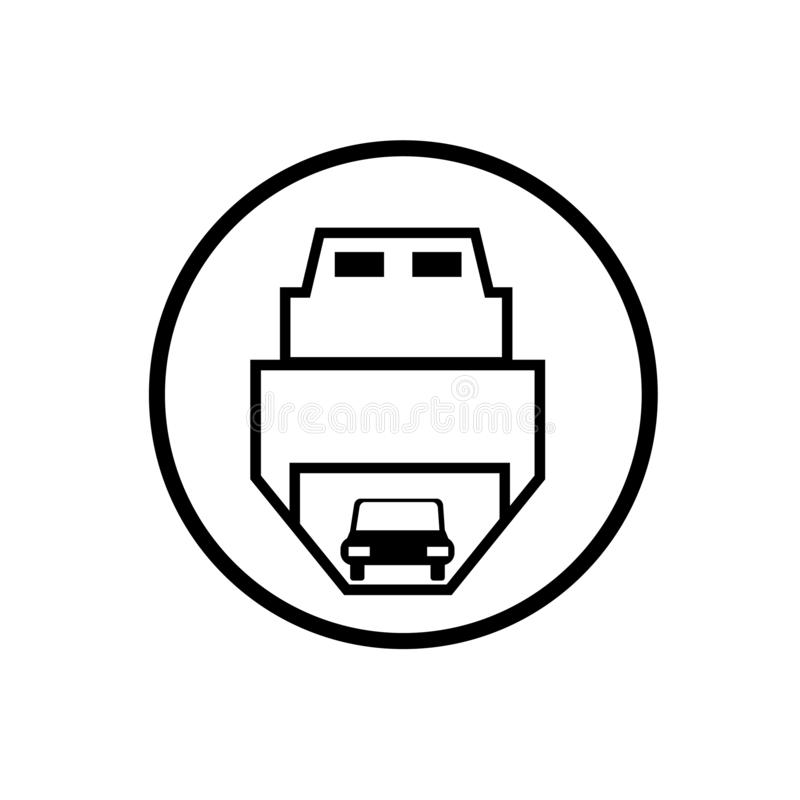Ferry carrying cars icon vector isolated on white background, Fe royalty free illustration