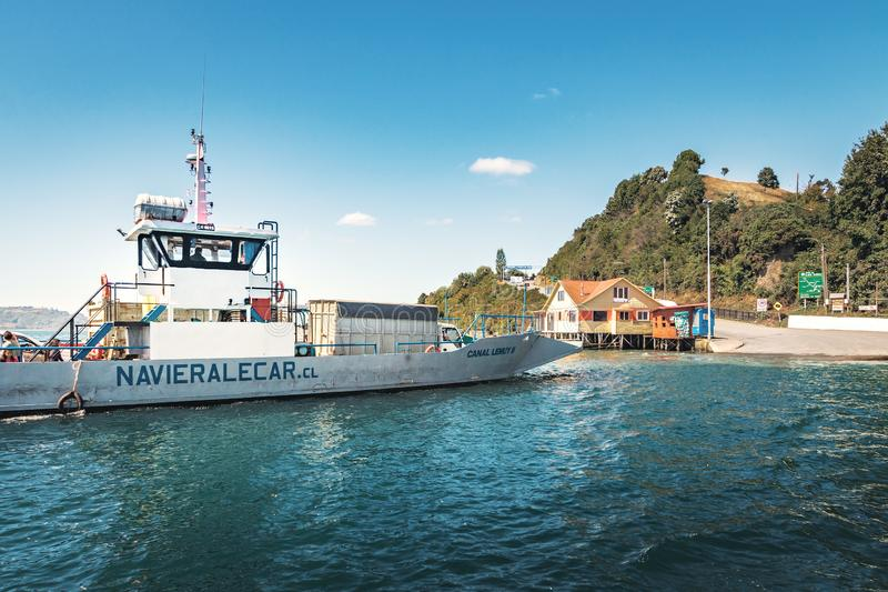 Ferry connecting Dalcahue and Curaco de Velez at Lemuy Island - Chiloe Island, Chile stock image
