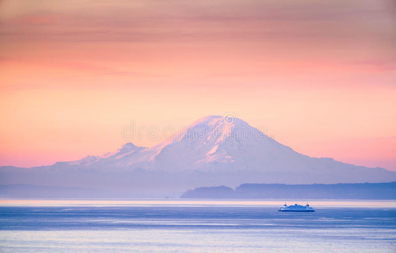 Download A Ferry Crossing The Puget Sound At Sunrise With Mount Rainier I Stock Photo - Image of northwest, ocean: 96541718
