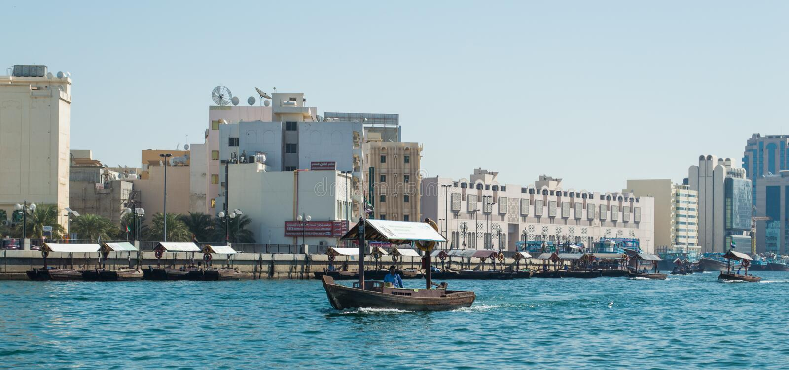 Ferry dhow in Dubai royalty free stock images