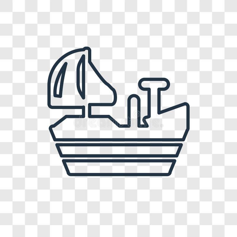 Ferry faisant face à l'icône linéaire de bon vecteur de concept d'isolement sur le transp illustration libre de droits