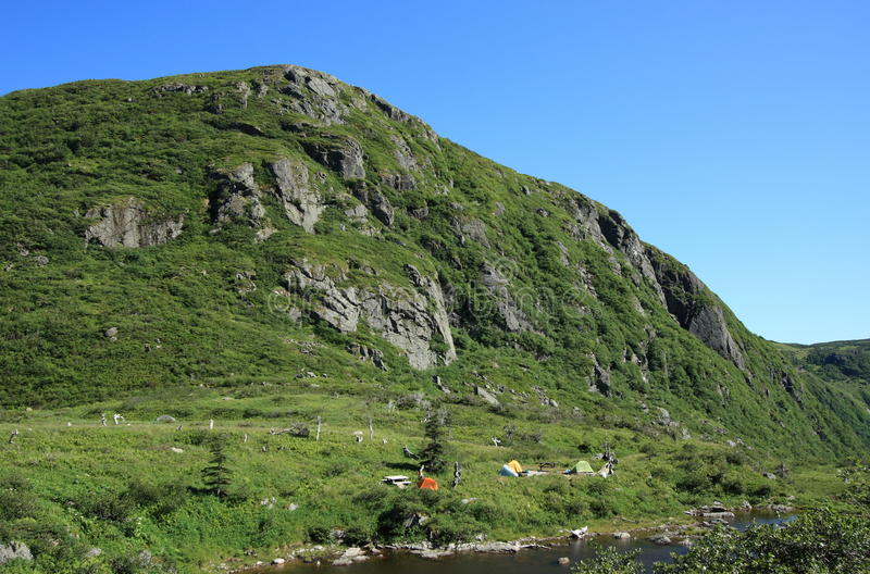 Ferry Gulch Backcountry Campsite. A backcountry campsite at Ferry Gulch within Gros Morne National Park, Newfoundland, Canada stock image