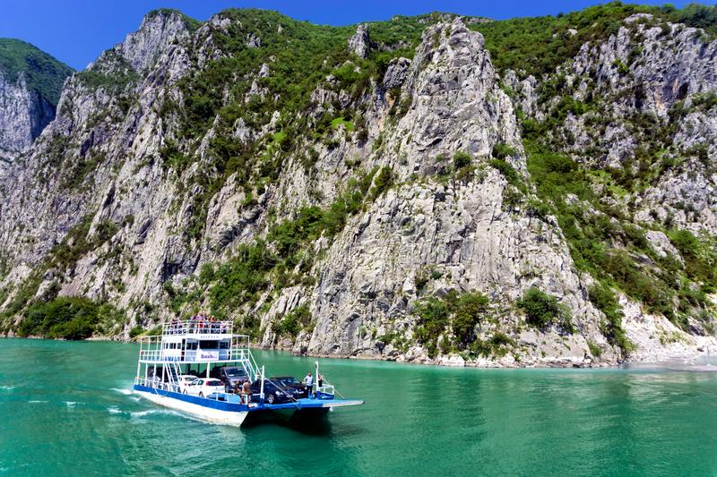 Ferry in Koman Lake in Albania royalty free stock photography