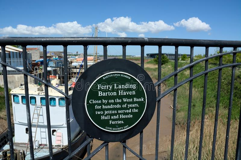 Ferry Landing, Barton Haven, Humber Bridge, Barton Upon Humber. UK. Sign outlining some history of Barton Haven which is a late Anglo-Saxon artificial harbour royalty free stock photo
